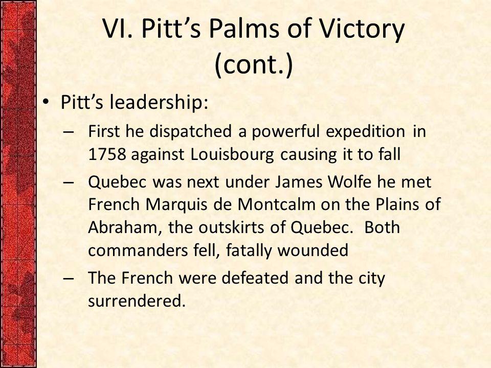 VI. Pitt's Palms of Victory (cont.)