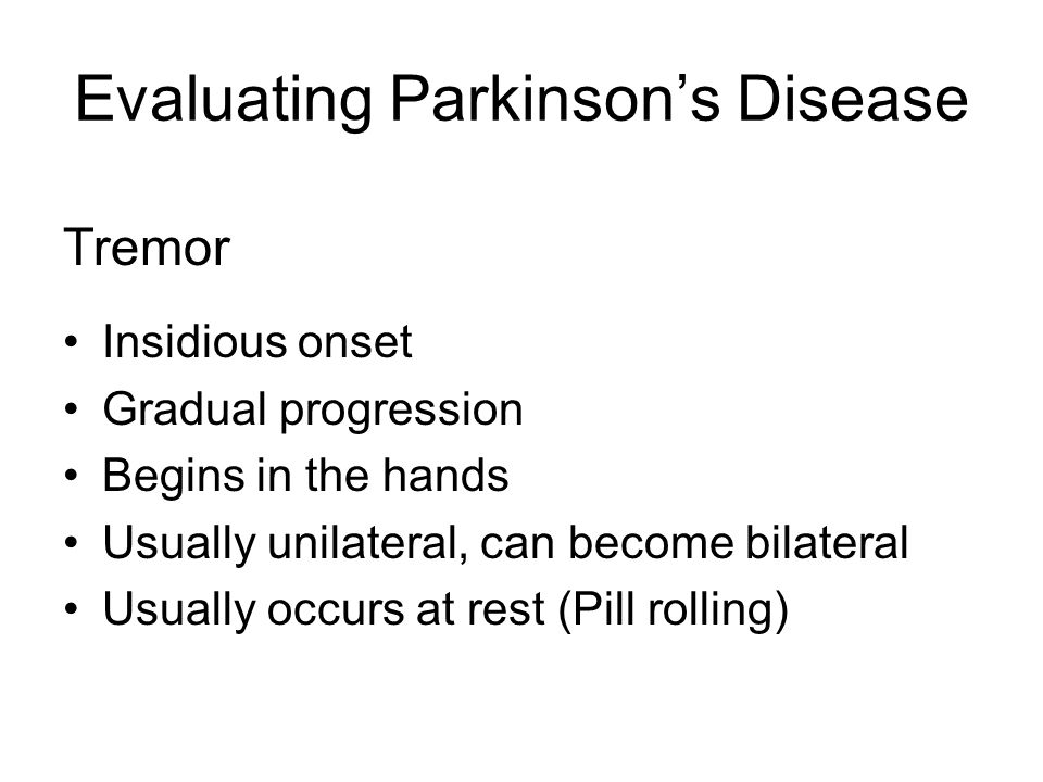 Evaluating Parkinson's Disease