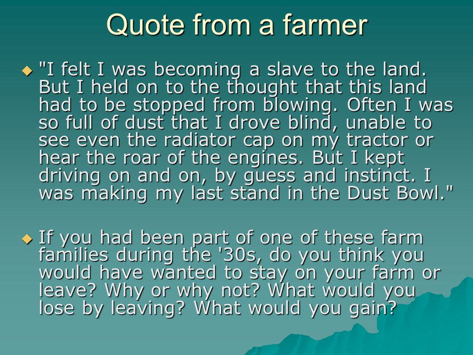 Quote from a farmer