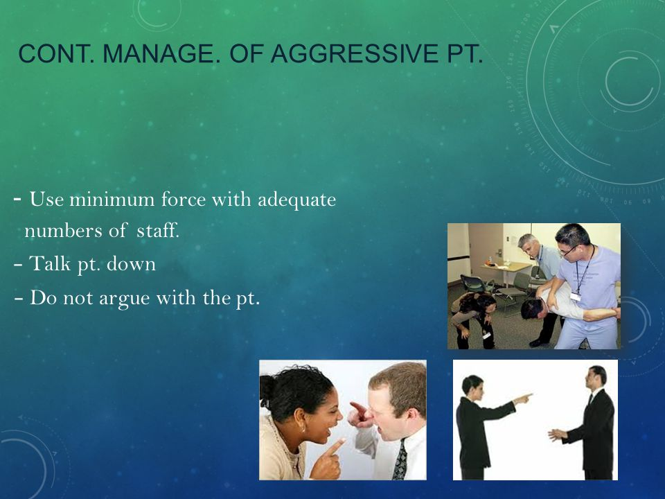Cont. Manage. Of aggressive pt.