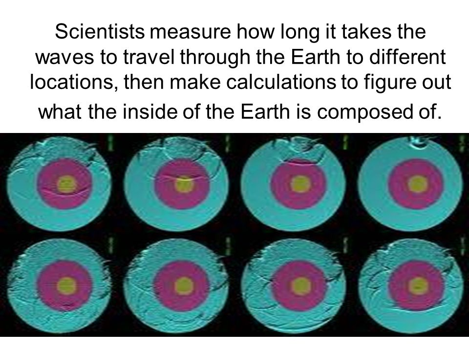 Scientists measure how long it takes the waves to travel through the Earth to different locations, then make calculations to figure out what the inside of the Earth is composed of.