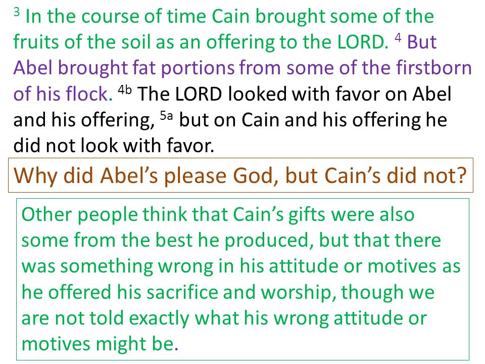 Why did Abel's please God, but Cain's did not