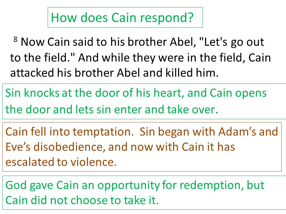 8 Now Cain said to his brother Abel, Let s go out