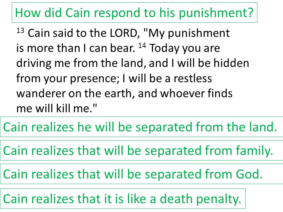 How did Cain respond to his punishment