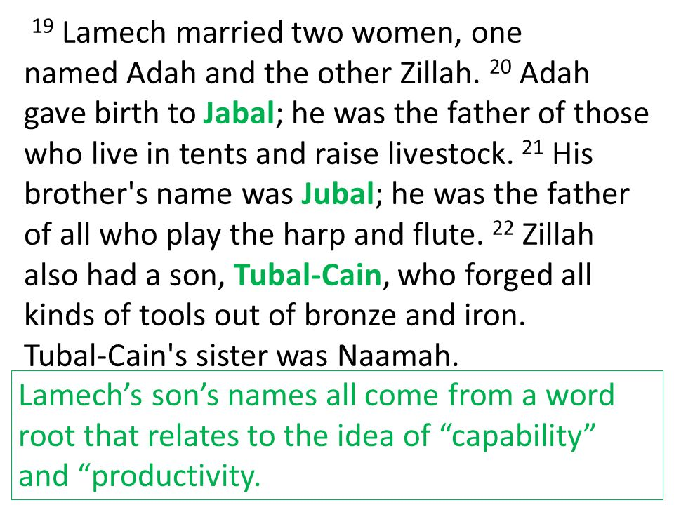 19 Lamech married two women, one