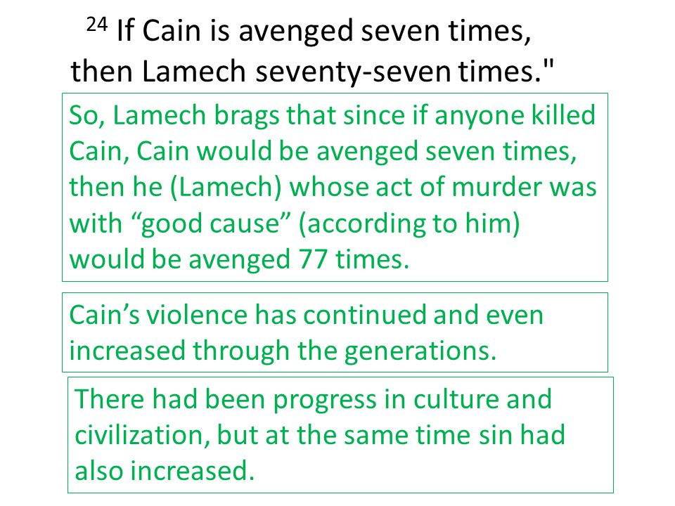 24 If Cain is avenged seven times, then Lamech seventy-seven times.