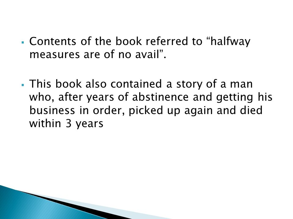 Contents of the book referred to halfway measures are of no avail .