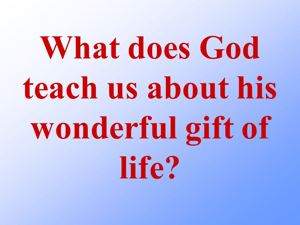 What does God teach us about his wonderful gift of life