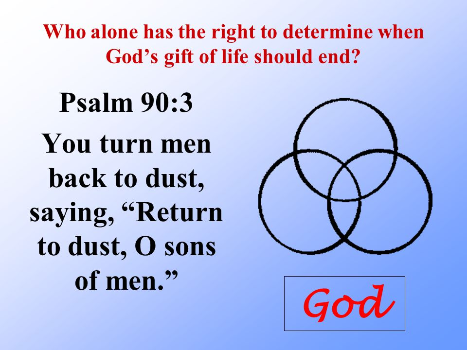 You turn men back to dust, saying, Return to dust, O sons of men.