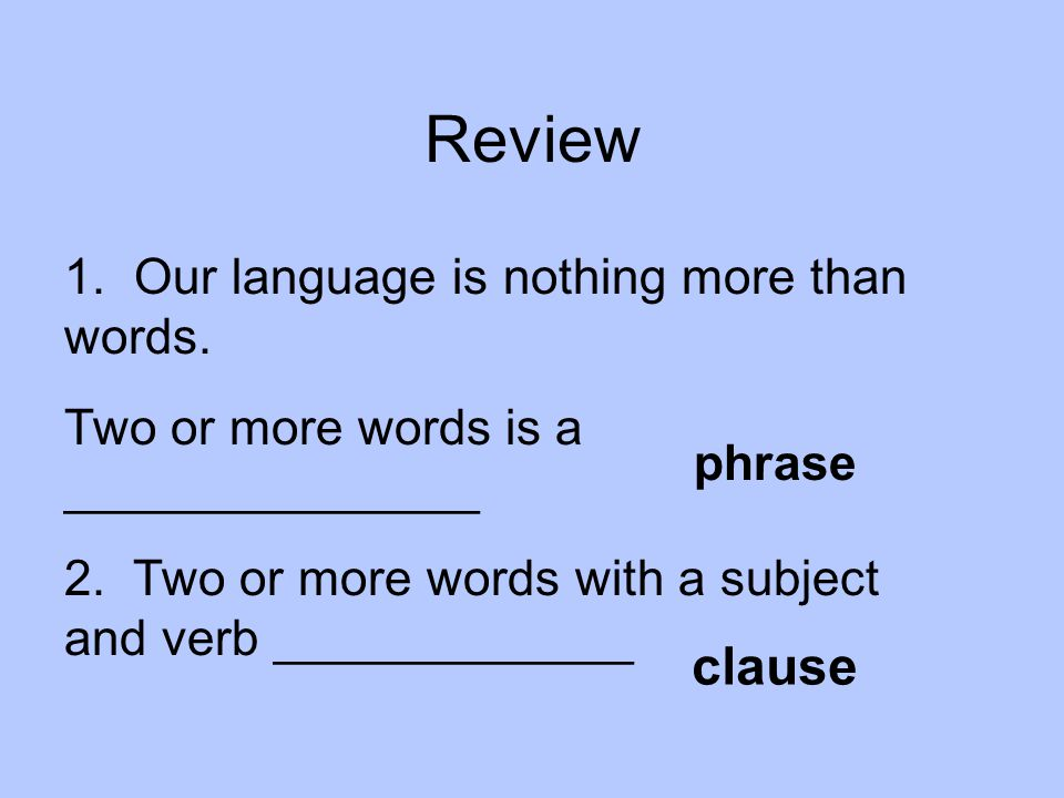 Review clause 1. Our language is nothing more than words.