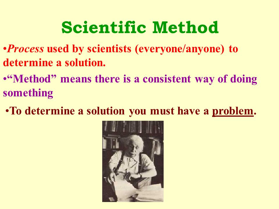 Scientific Method Process used by scientists (everyone/anyone) to determine a solution. Method means there is a consistent way of doing something.