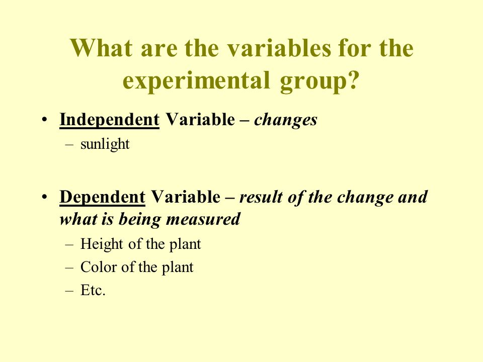 What are the variables for the experimental group