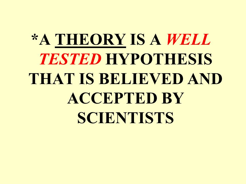 *A THEORY IS A WELL TESTED HYPOTHESIS THAT IS BELIEVED AND ACCEPTED BY SCIENTISTS