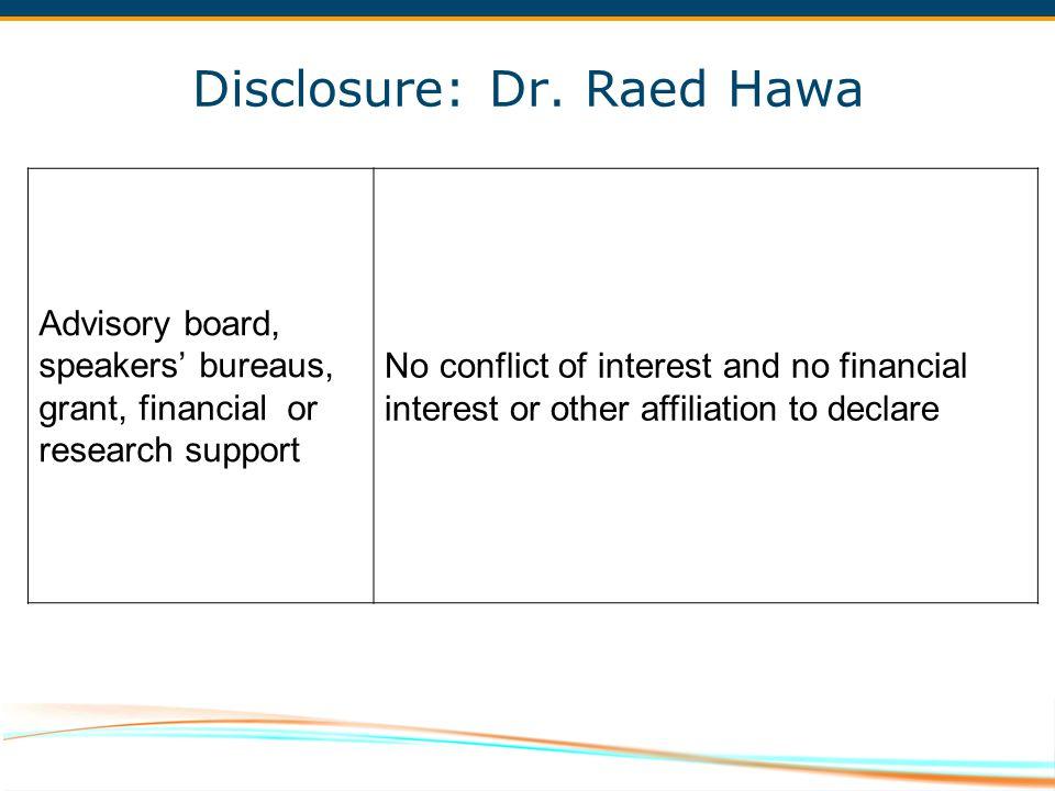 Disclosure: Dr. Raed Hawa