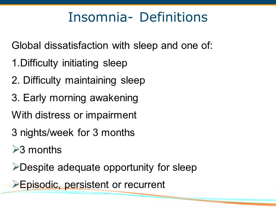 Insomnia- Definitions