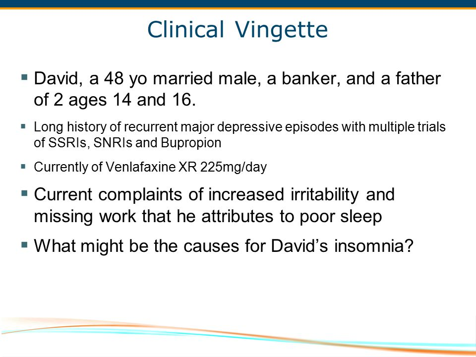 Clinical Vingette David, a 48 yo married male, a banker, and a father of 2 ages 14 and 16.