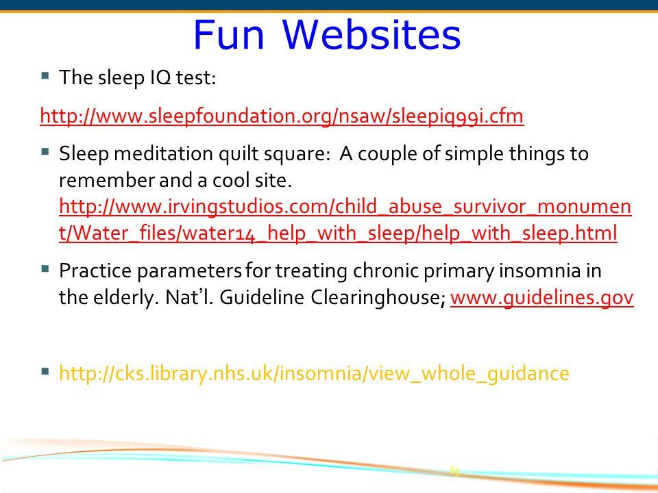 Fun Websites The sleep IQ test:
