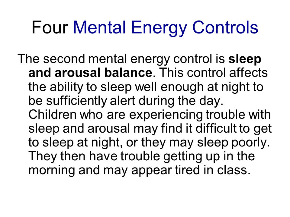 Four Mental Energy Controls