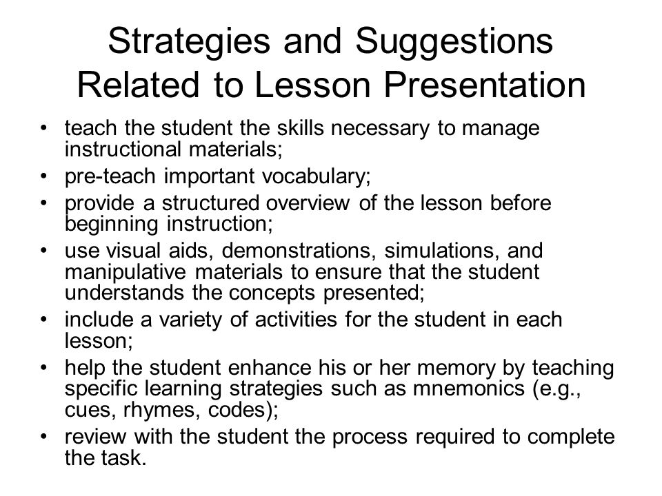 Strategies and Suggestions Related to Lesson Presentation