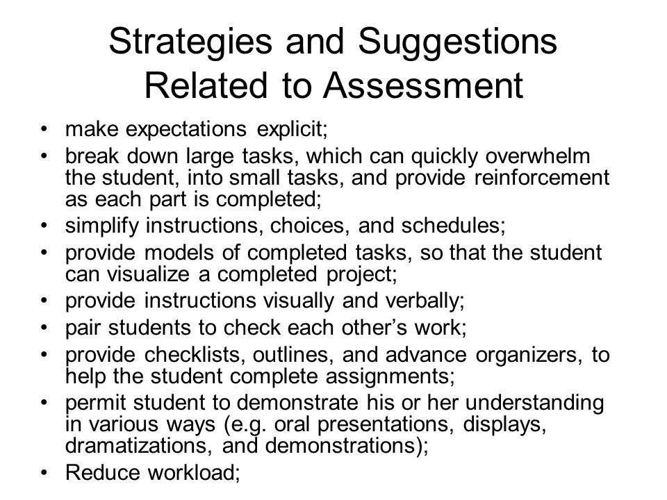 Strategies and Suggestions Related to Assessment