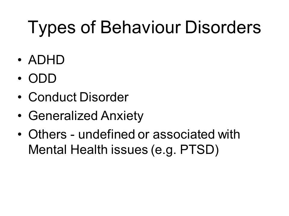 Types of Behaviour Disorders
