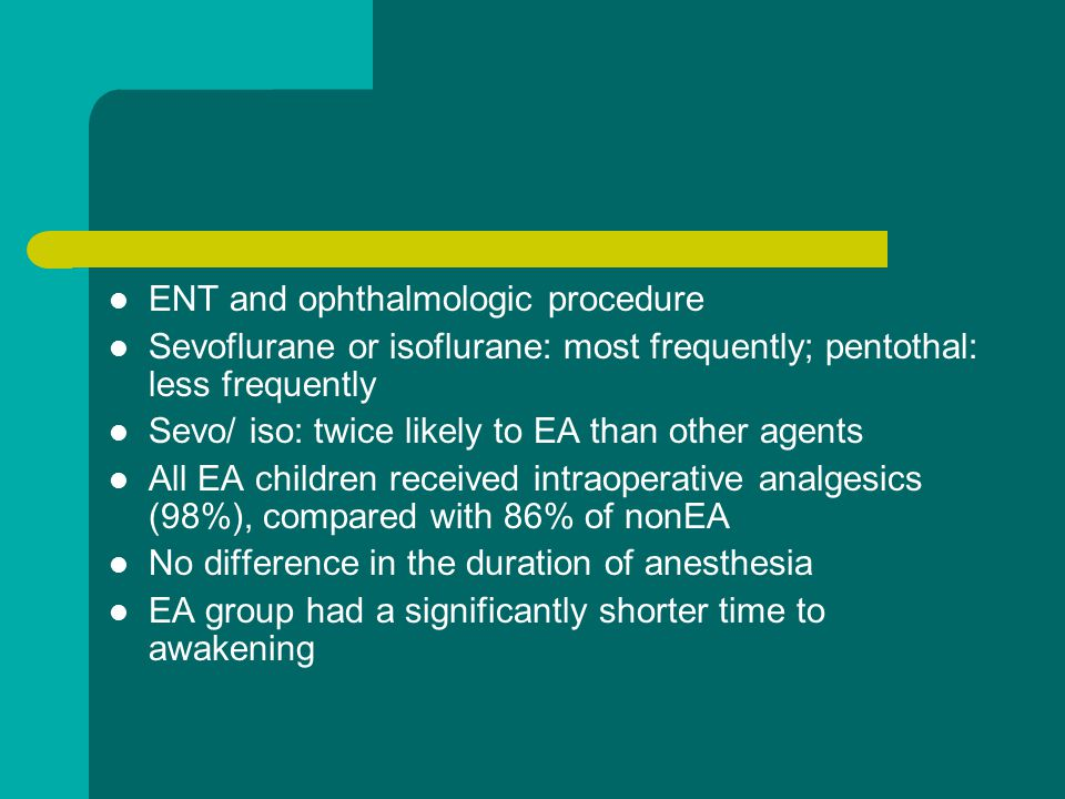 ENT and ophthalmologic procedure
