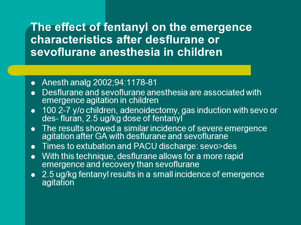 The effect of fentanyl on the emergence characteristics after desflurane or sevoflurane anesthesia in children