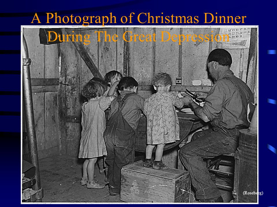 A Photograph of Christmas Dinner During The Great Depression