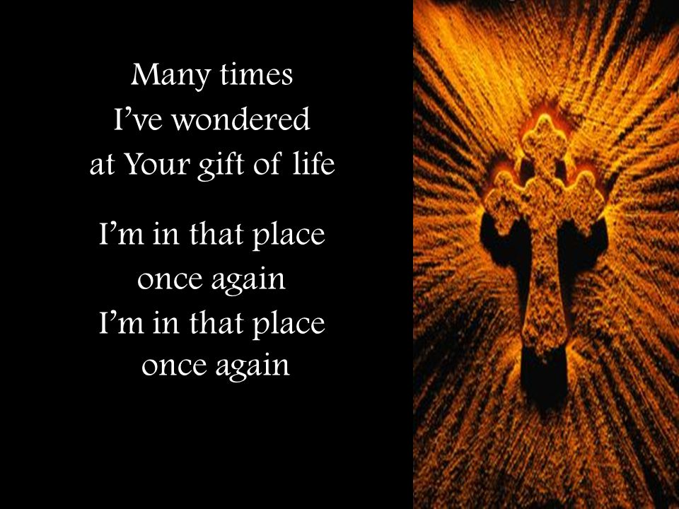 Many times I've wondered at Your gift of life I'm in that place once again