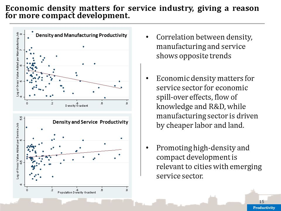Economic density matters for service industry, giving a reason for more compact development.