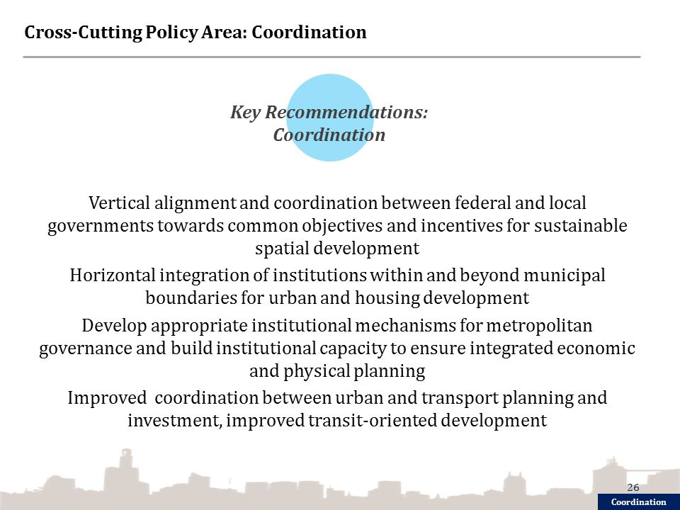 Cross-Cutting Policy Area: Coordination