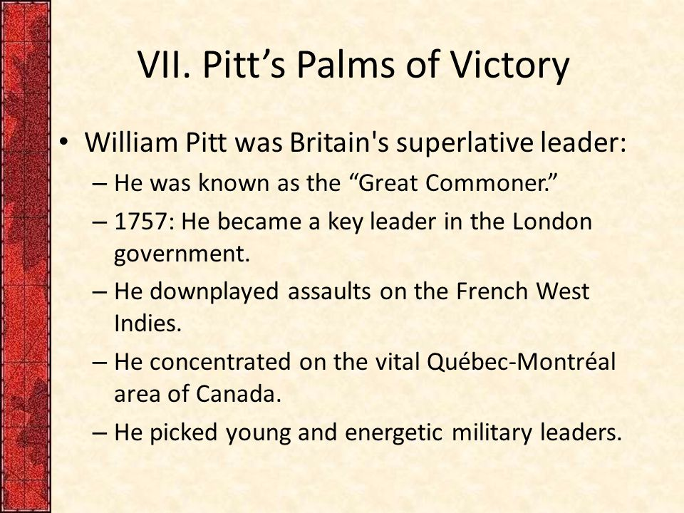 VII. Pitt's Palms of Victory