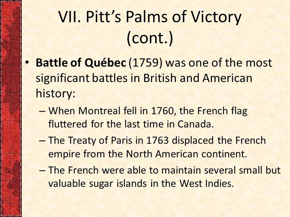 VII. Pitt's Palms of Victory (cont.)