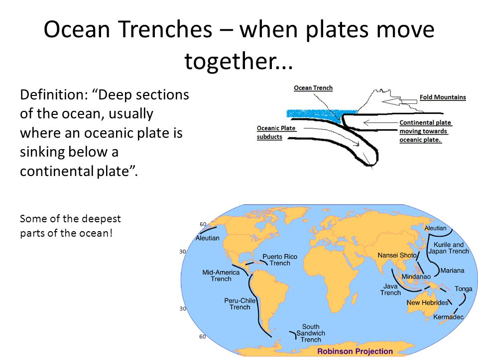 Ocean Trenches – when plates move together...