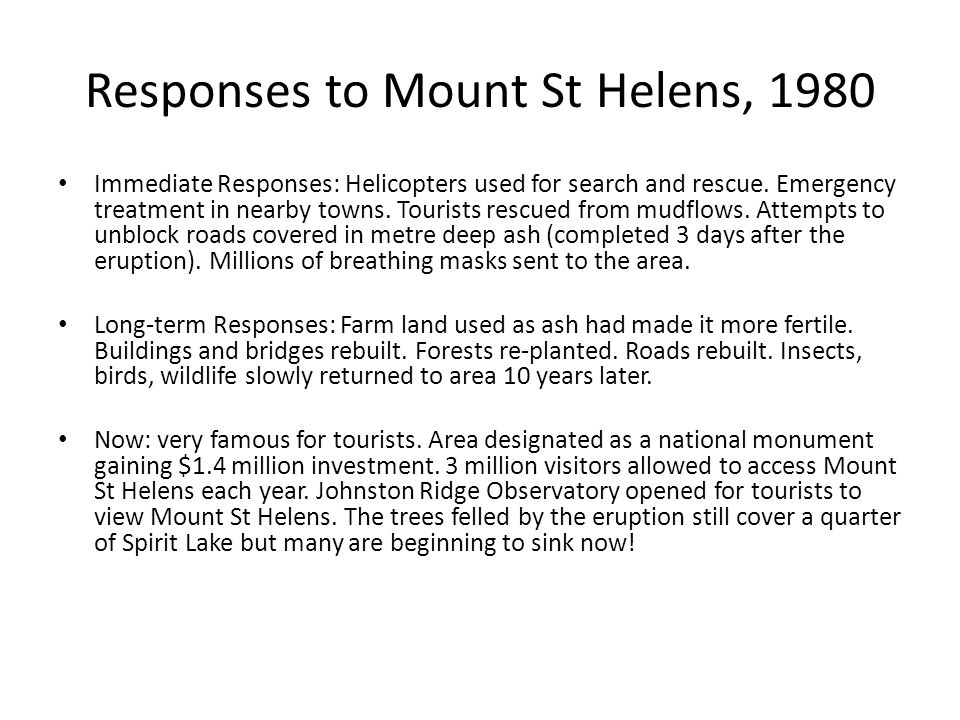 Responses to Mount St Helens, 1980