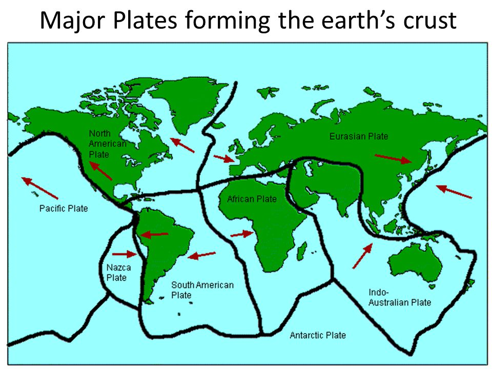 Major Plates forming the earth's crust