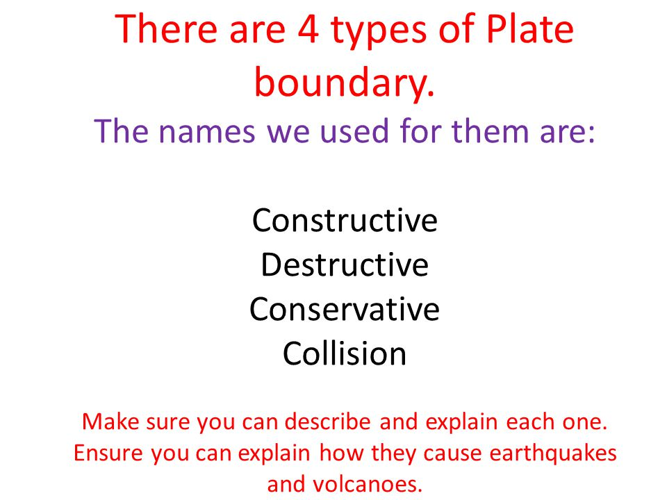 There are 4 types of Plate boundary