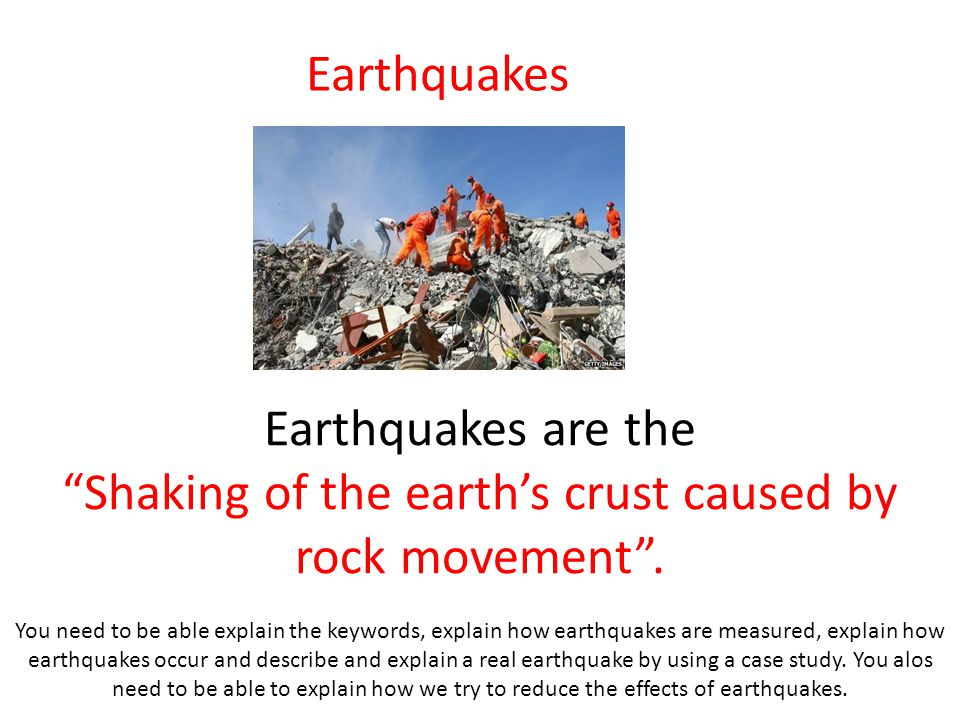 Shaking of the earth's crust caused by rock movement .
