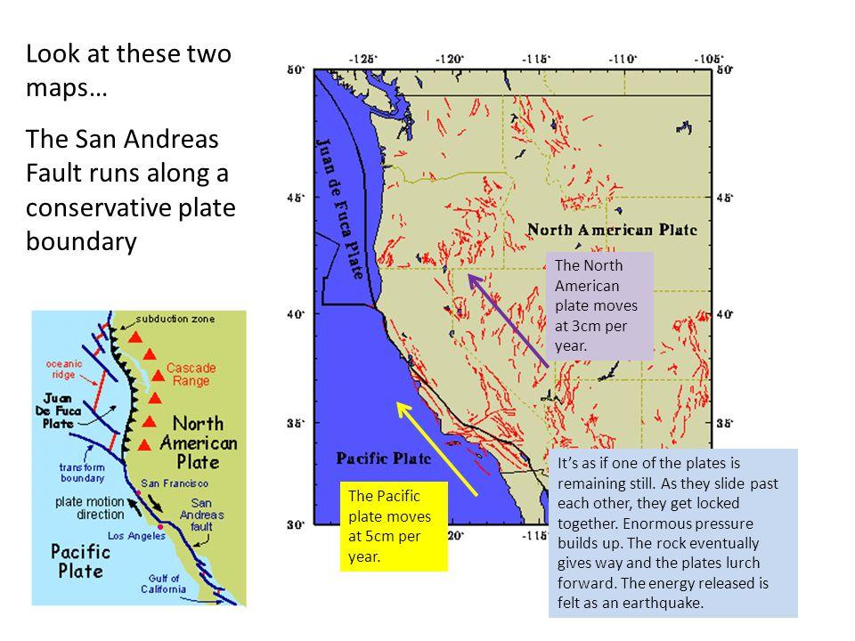 The San Andreas Fault runs along a conservative plate boundary