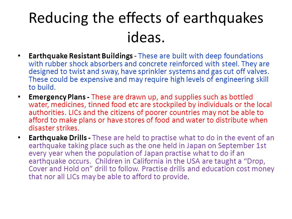 Reducing the effects of earthquakes ideas.