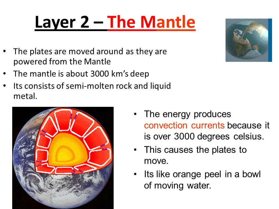 Layer 2 – The Mantle The plates are moved around as they are powered from the Mantle. The mantle is about 3000 km's deep.