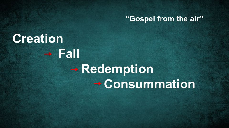 Gospel from the air Creation Fall Redemption Consummation