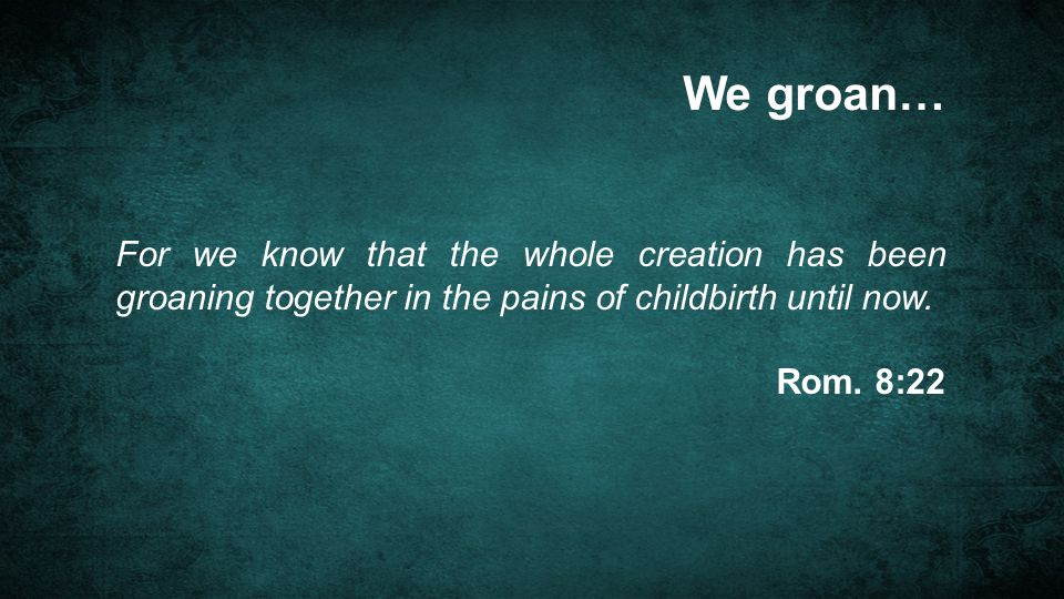 We groan… For we know that the whole creation has been groaning together in the pains of childbirth until now.