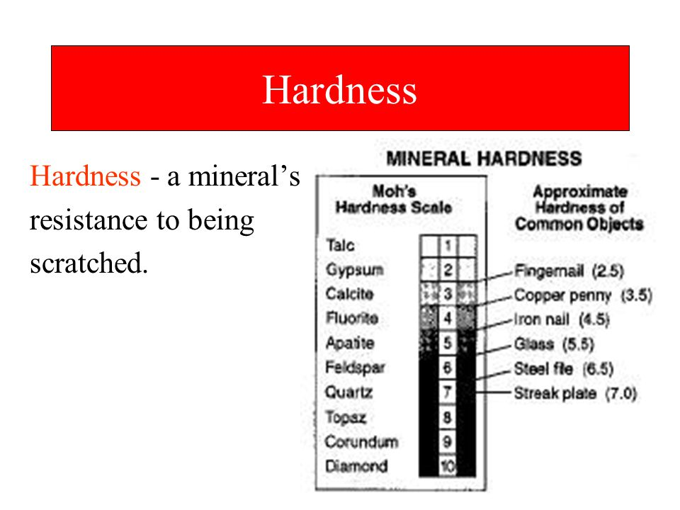 Hardness Hardness - a mineral's resistance to being scratched.