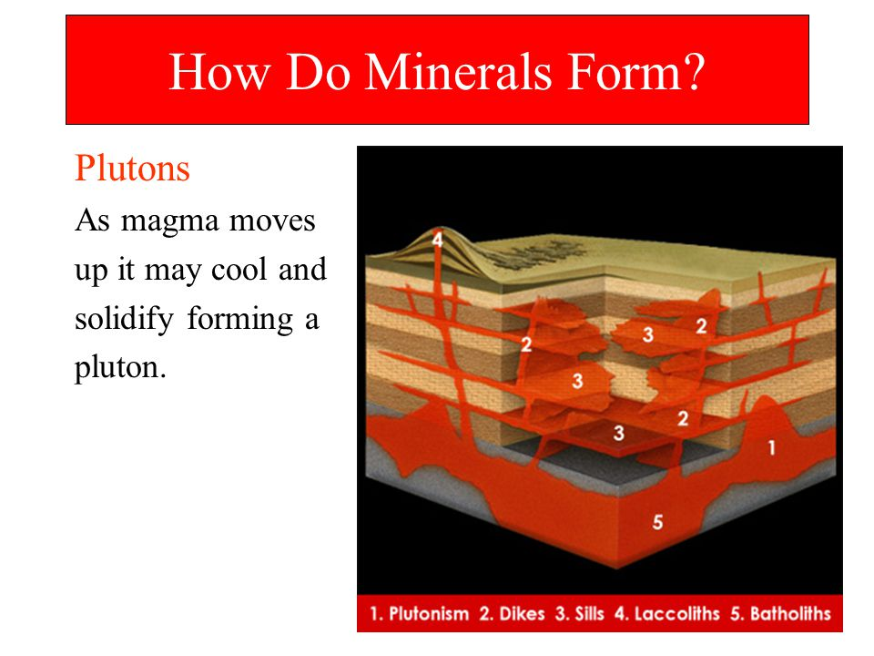 How Do Minerals Form Plutons As magma moves up it may cool and