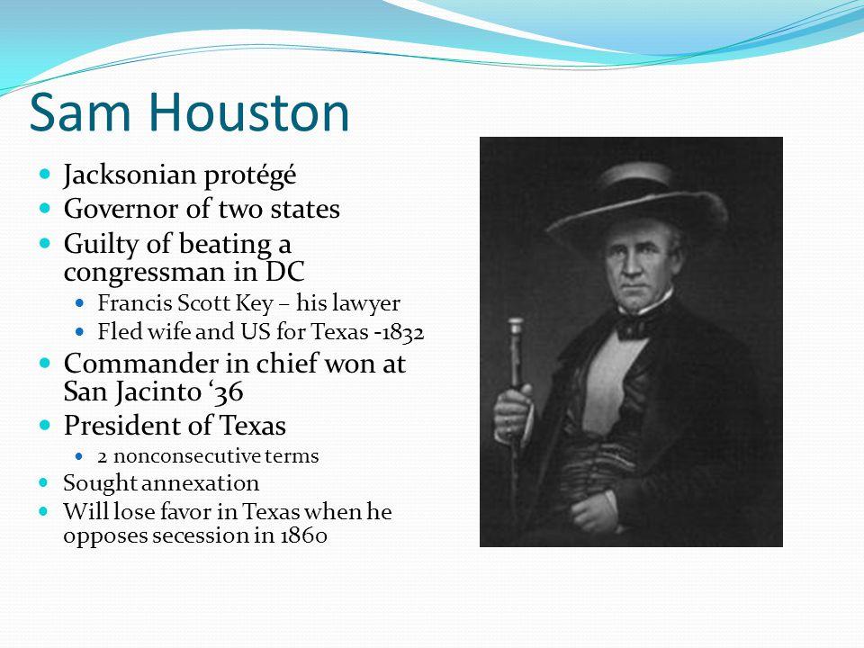 Sam Houston Jacksonian protégé Governor of two states
