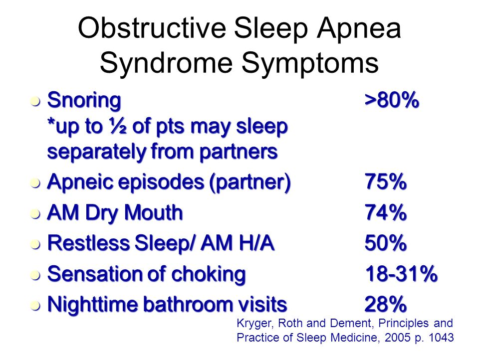 Obstructive Sleep Apnea Syndrome Symptoms