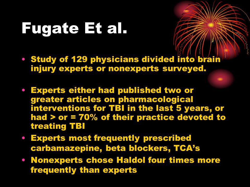 Fugate Et al. Study of 129 physicians divided into brain injury experts or nonexperts surveyed.