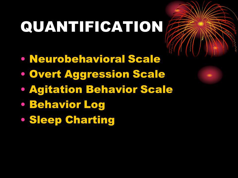 QUANTIFICATION Neurobehavioral Scale Overt Aggression Scale