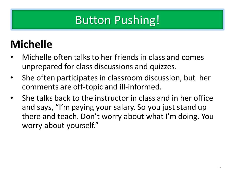 Button Pushing! Michelle